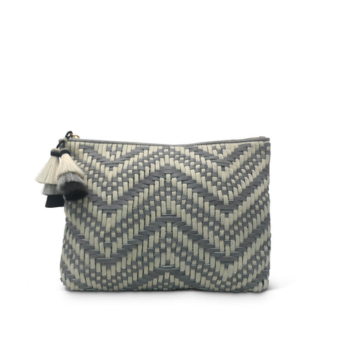 Navy/Gold Stripe Canvas Beach Pouch