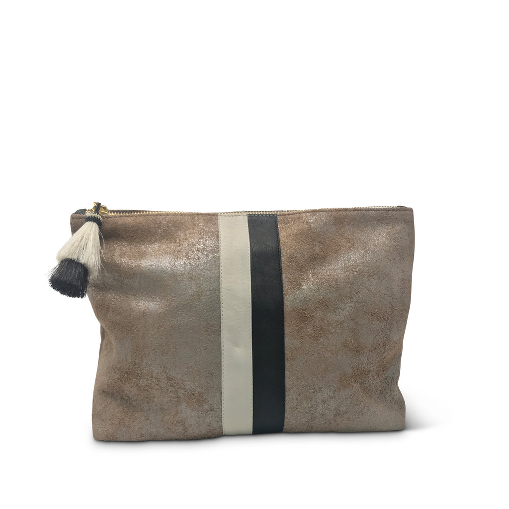Hazel Shimmer with Stripe Medium Pouch