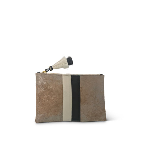 "SAMPLE SALE 2019 - Blush & Gold ""Shadey"" Medium Leather Clutch (All Sales Final)"