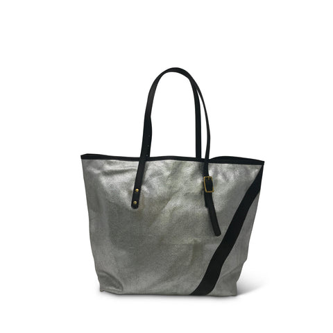 Kempton & Co. Silver Striped Diaper Tote - Charcoal and Silver