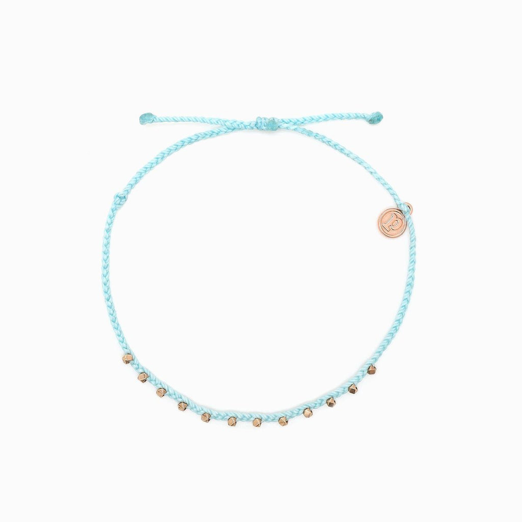 Braided Gold Bead Bracelet - Aqua