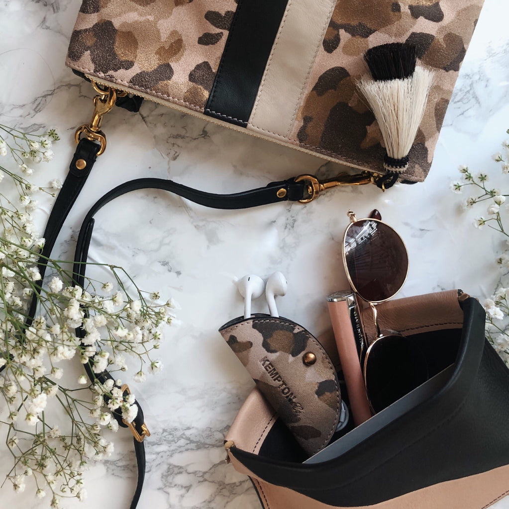Blush and Black Snap Pouch