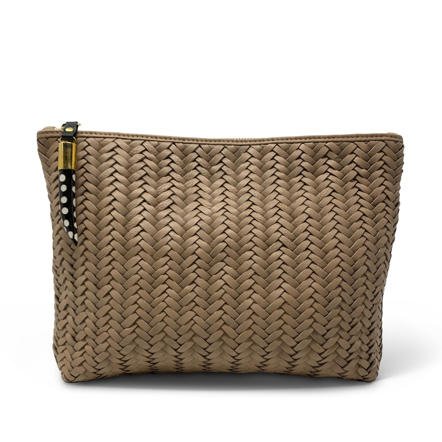 BLUSH BASKET WEAVE MEDIUM POUCH