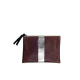Small Leather Pouch Bag - Brandy and Silver