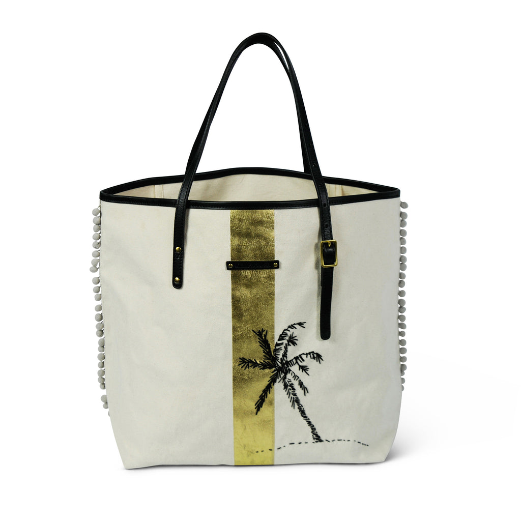 Palm Embroidered Canvas Tote
