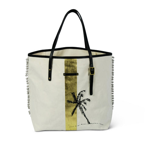 Navy/Gold Striped Canvas Urban Beach Tote