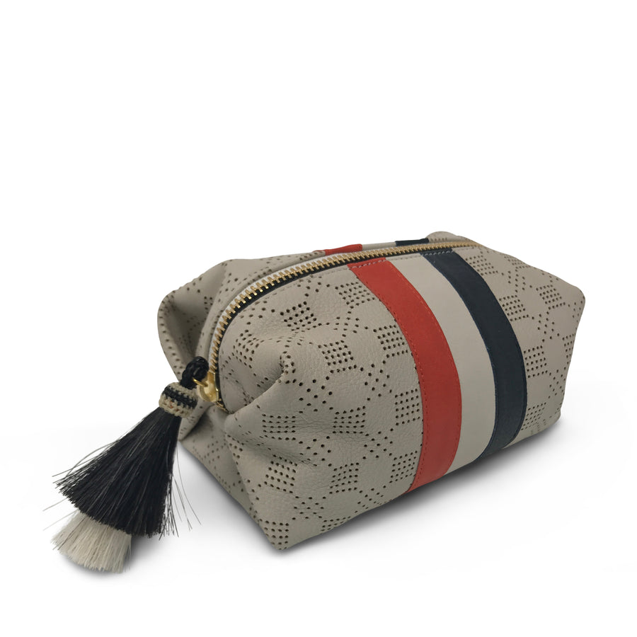 Chalk Perforated Cosmetic Case - Red White and Blue Stripes