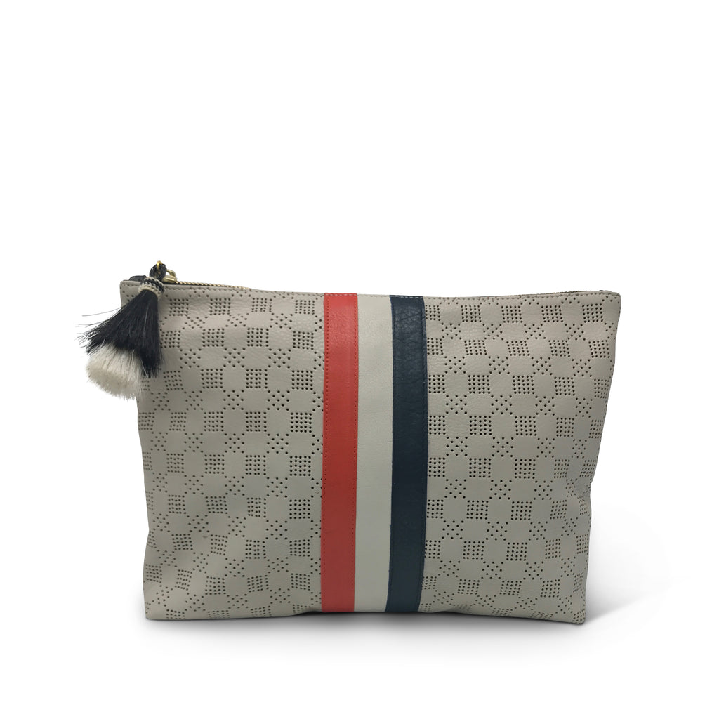 Chalk Perforated Medium Pouch - Red White & Blue Stripes