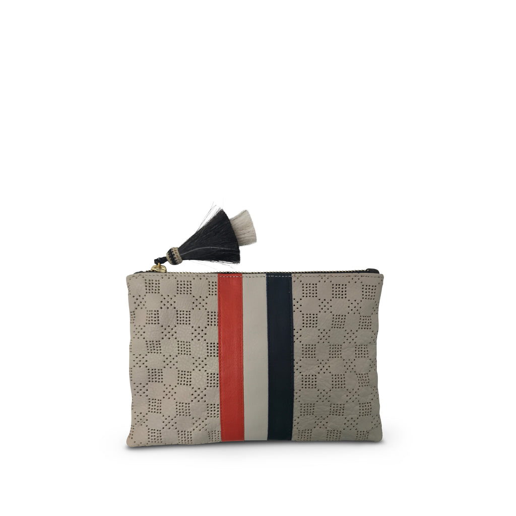 Chalk Perforated Small Pouch - With Red White and Blue Stripes