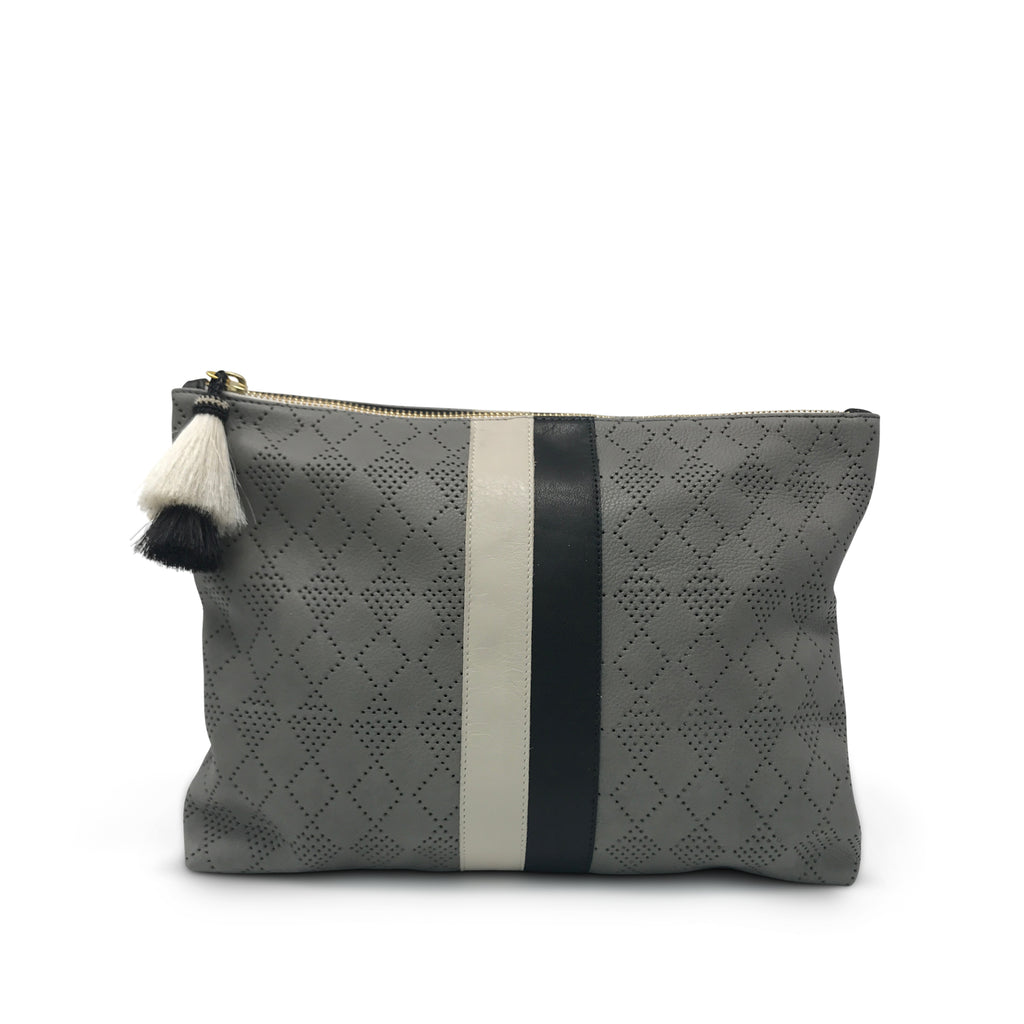 Diamond Perf Medium Pouch - Storm Grey