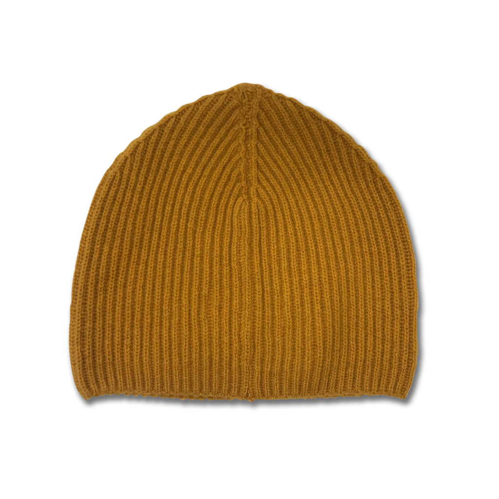 Cashmere Ribbed Beanie Hat - Dijon