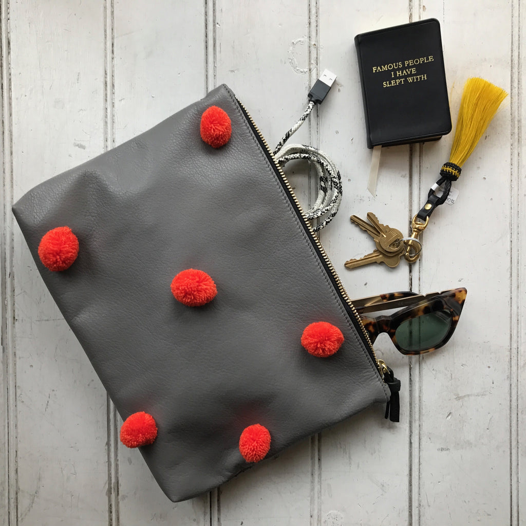 Pom Pom Medium Leather Clutch - Grey with Orange Poms
