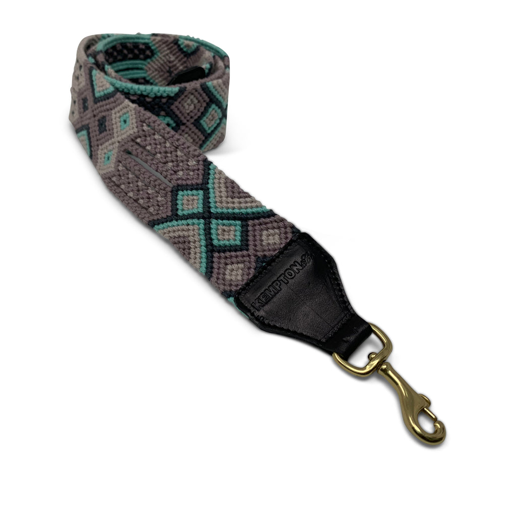 Turquoise, Grey and Mauve Bag Strap