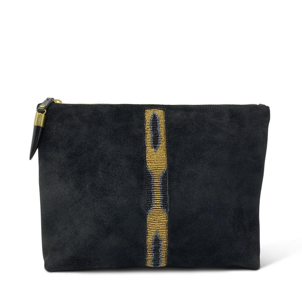 Kibera Beaded Stripe Medium Pouch