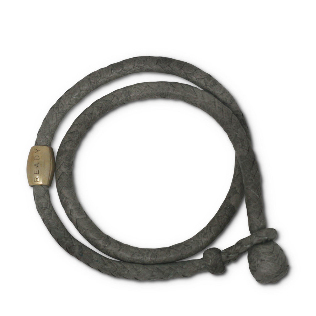 Double wrap leather knot bracelet - grey