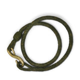 Double wrap leather hook bracelet - olive green