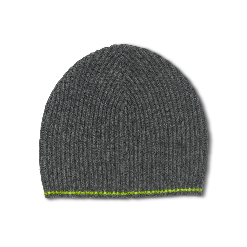 Tipped Ribbed Beanie - Mid Grey and Neon Yellow
