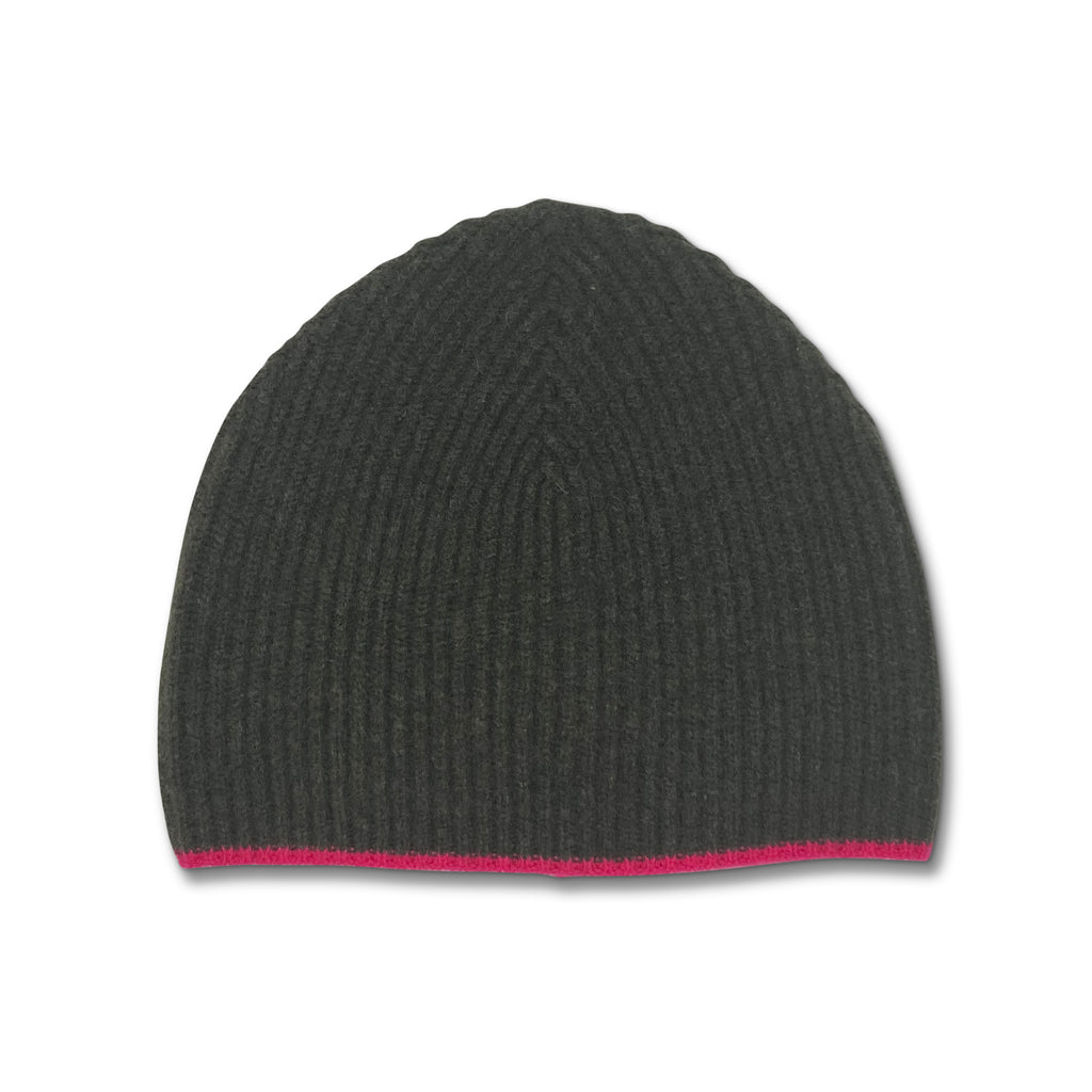 Tipped Ribbed Beanie - Army and Neon Pink