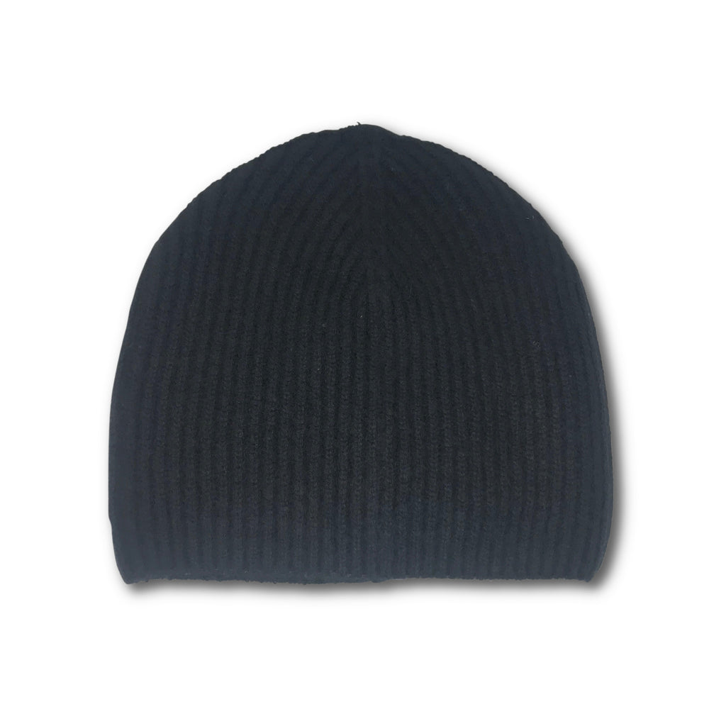 Cashmere Ribbed Beanie Hat - Black