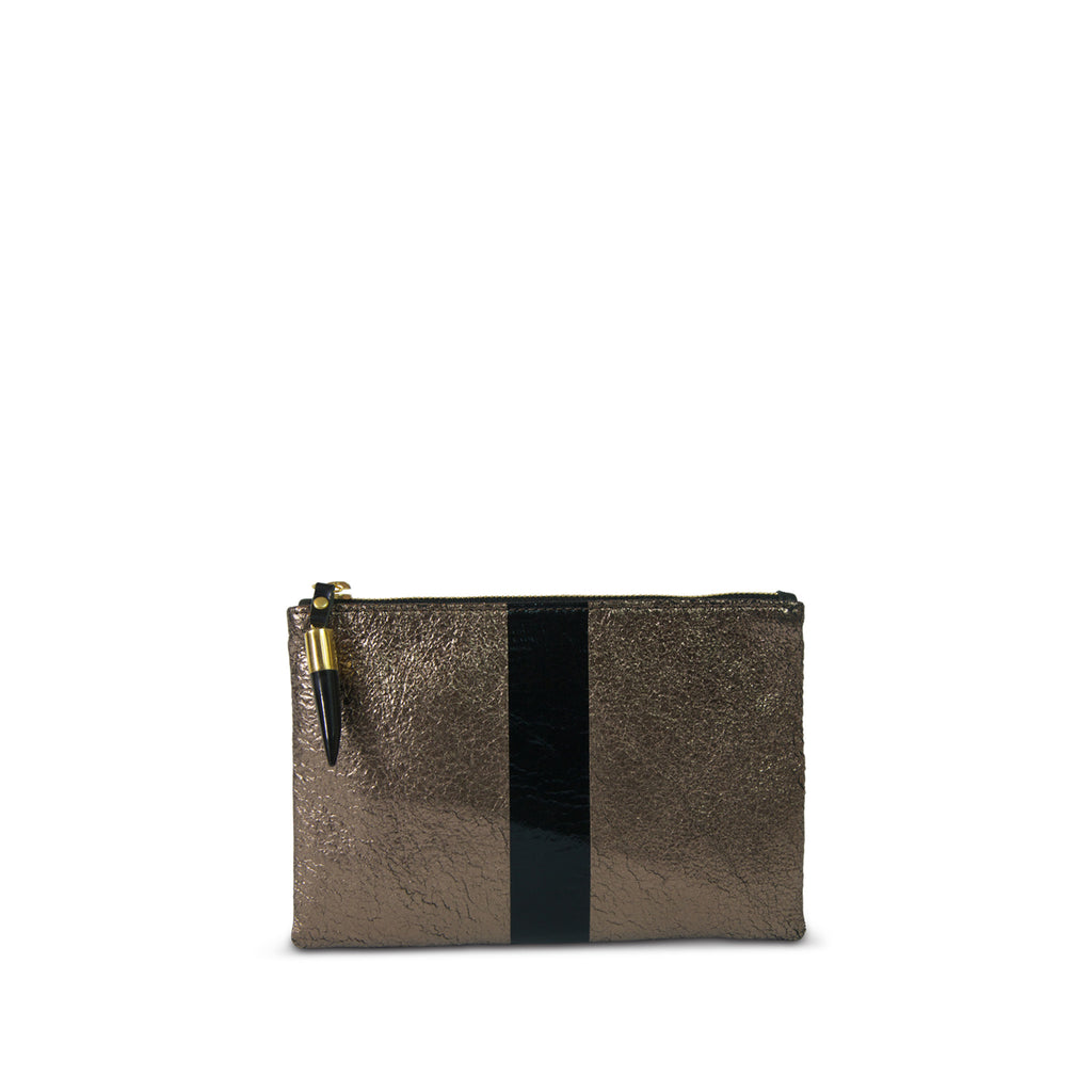 Small Leather Pouch Bag - Bronze and Black