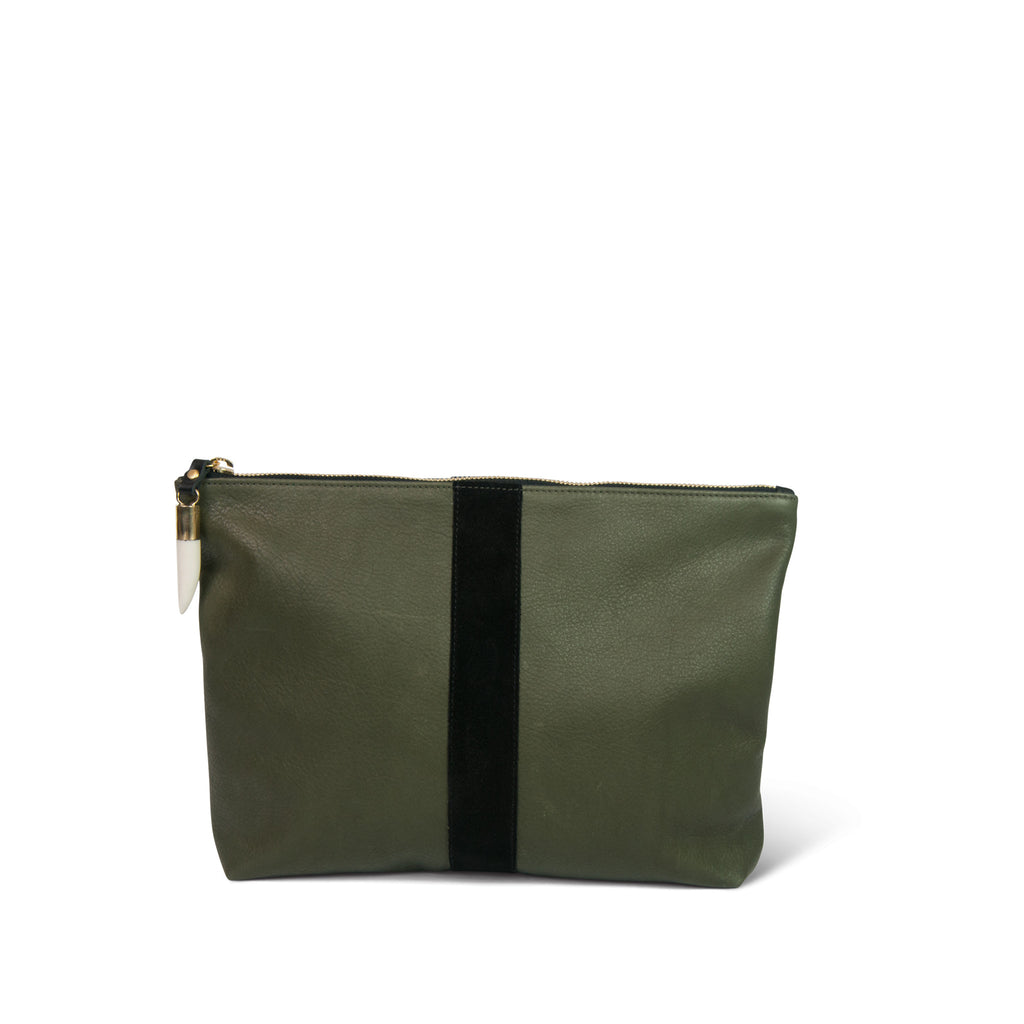 Medium Leather Clutch - Olive Leather with Black Stripe