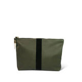 Medium Leather Clutch - Olive Leather and Black Suede