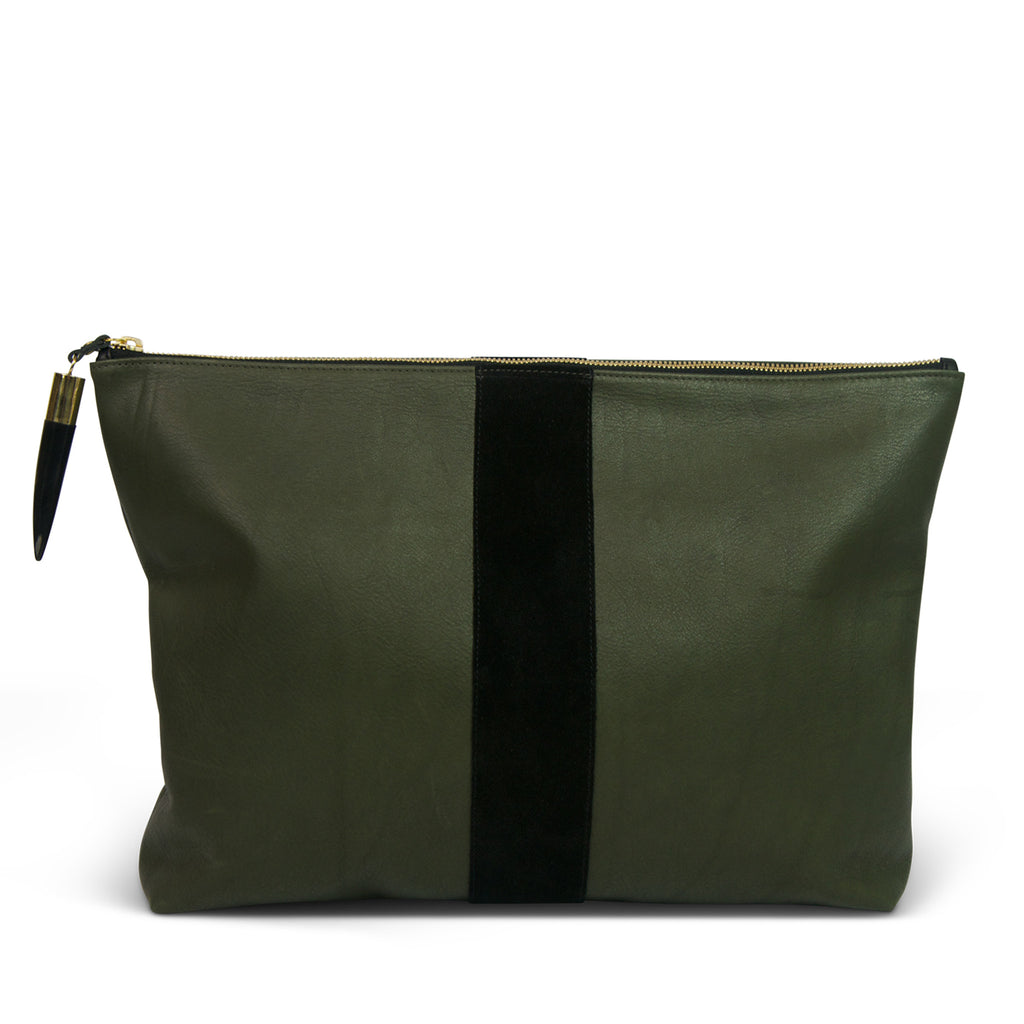 """Royal Frolic"" Leather Laptop Clutch - Olive and Black"