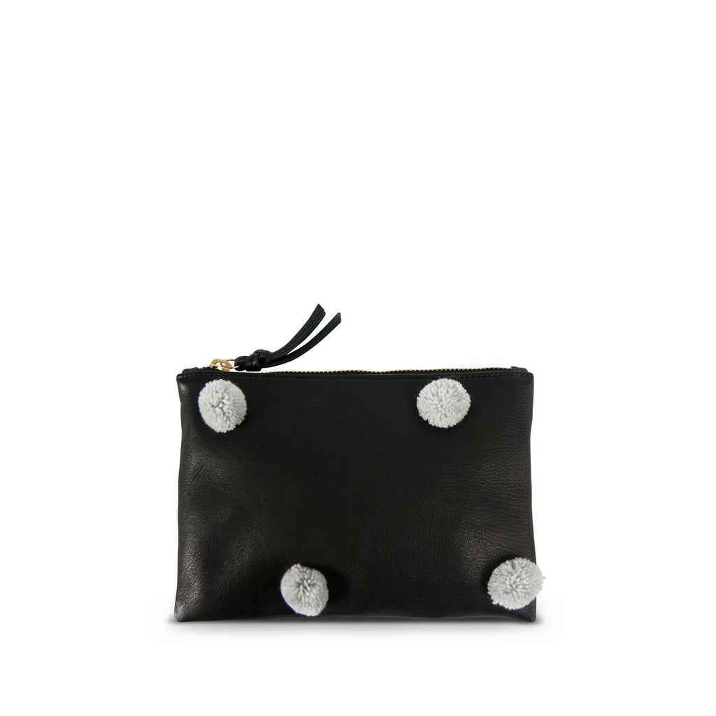 "The ""Pom Pom"" Small Leather Pouch--Black with Grey Poms"