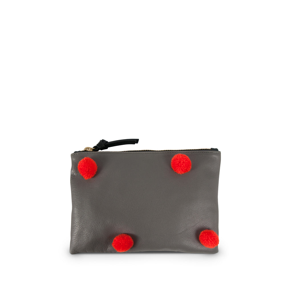 "SAMPLE SALE 2019 - The ""Pom Pom"" Small Leather Pouch--Grey with Orange Poms (All Sales Are Final)"