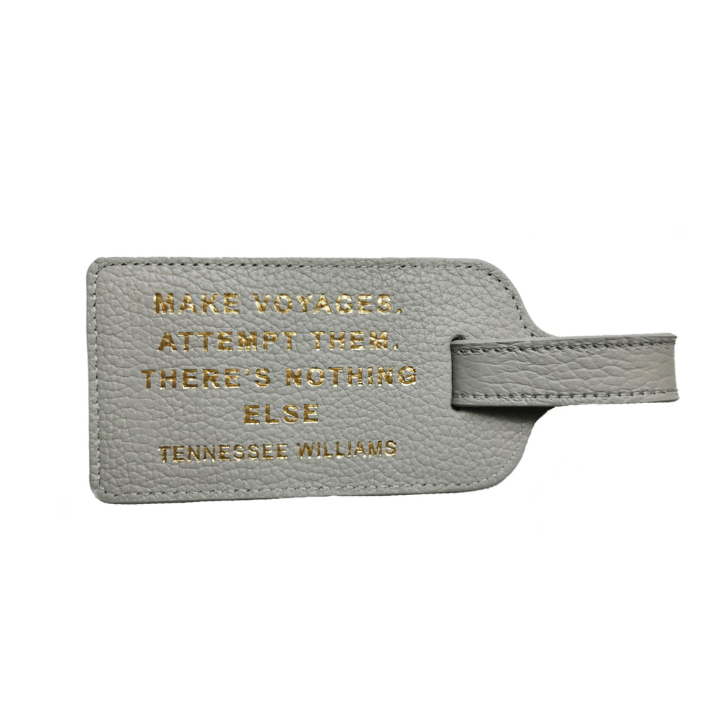 Silver Grey Leather Luggage tag - Tennessee Williams quote