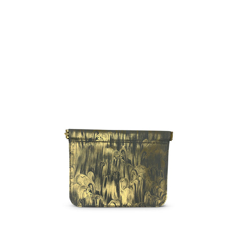 Metallic Canvas Black Striped Pouch-Gold/Black