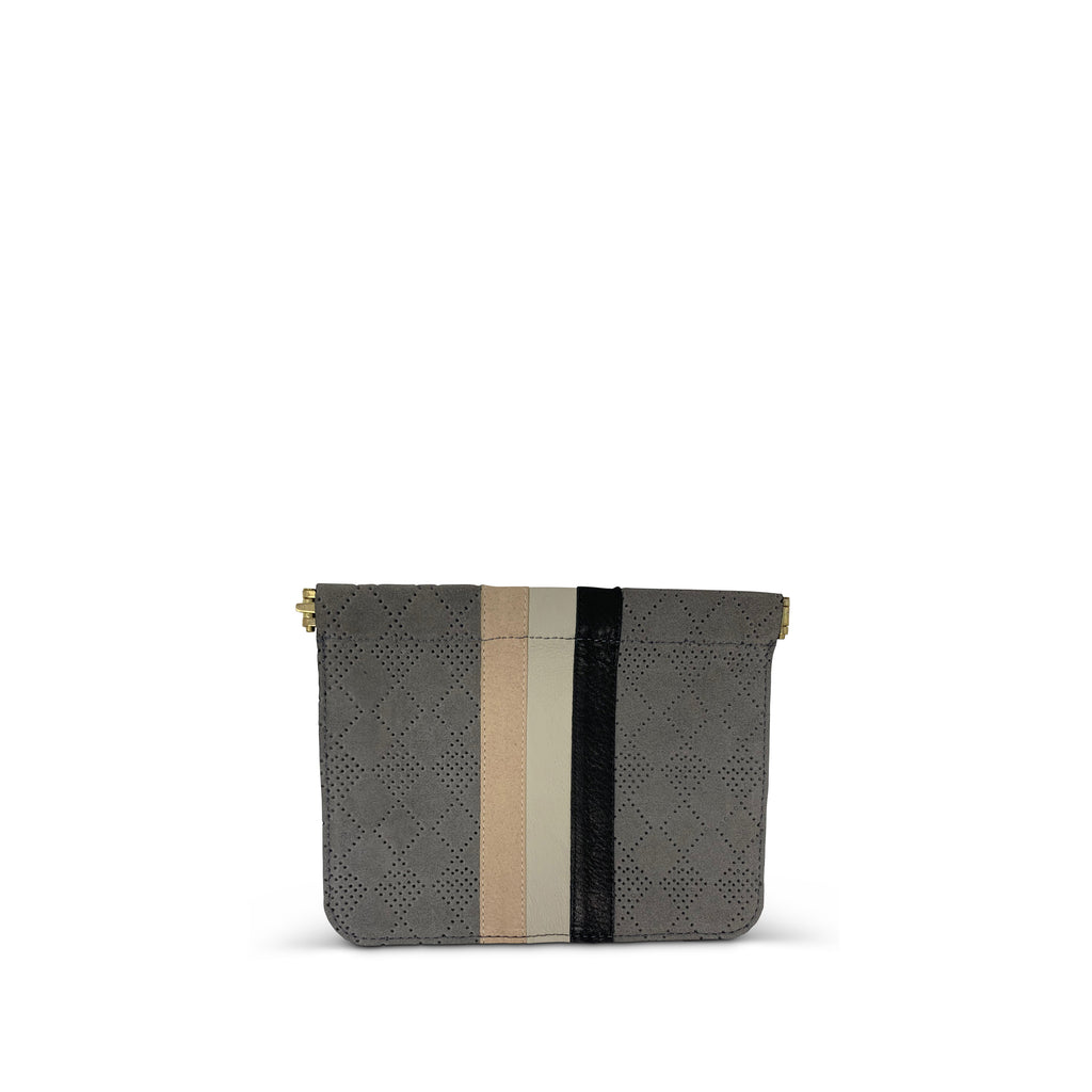 Perforated Storm Suede Snap Pouch