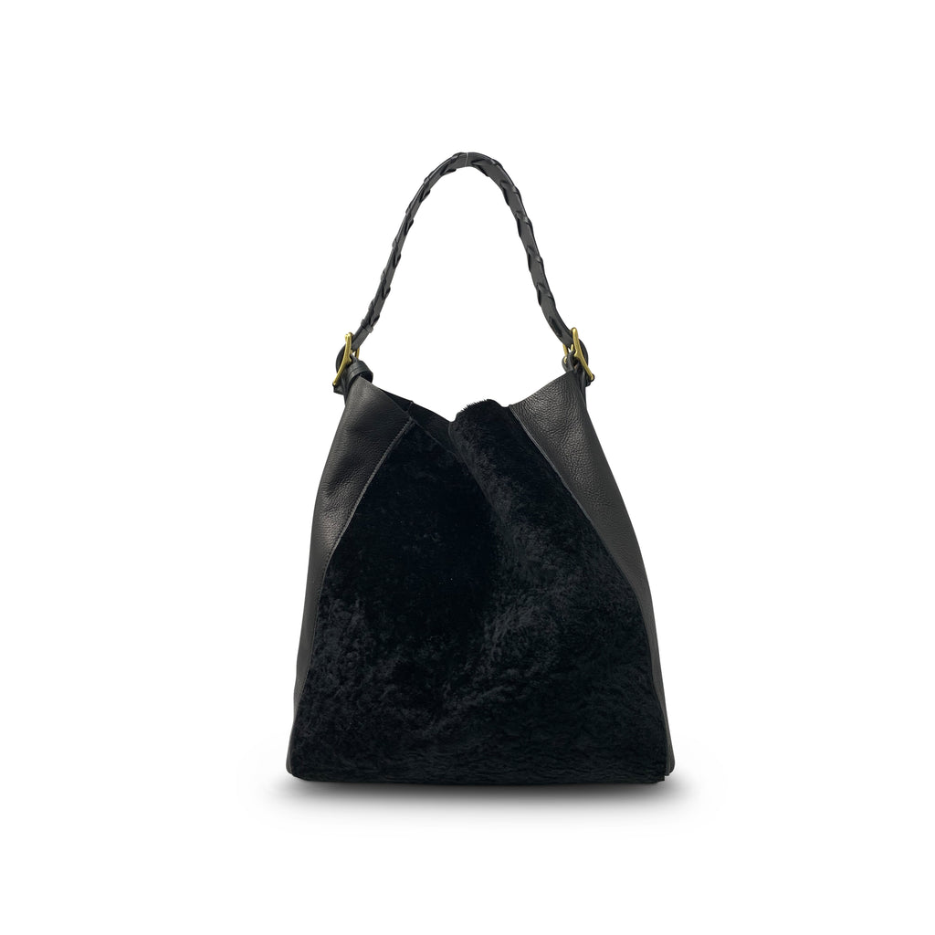 Cowdray Hobo - Black Shearling