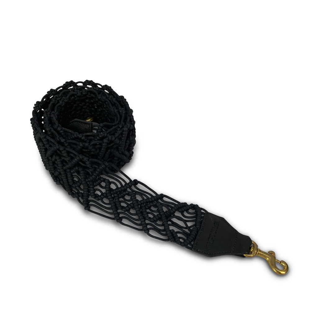 Black Macramé Bag Strap