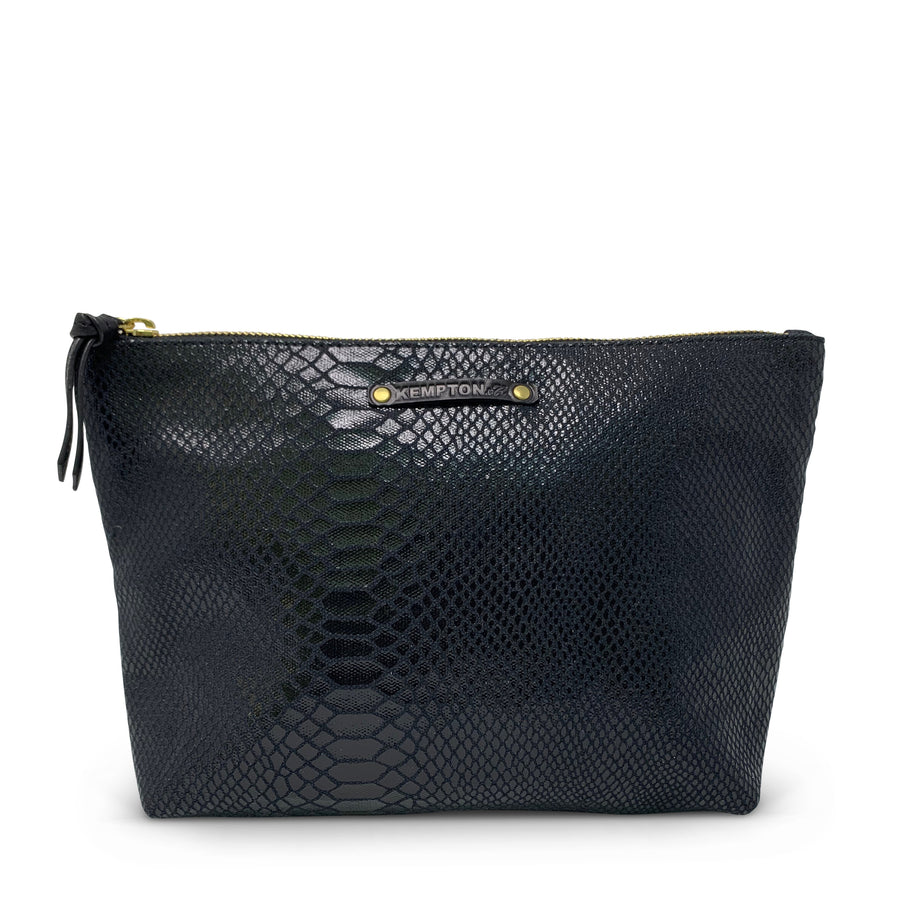 Black Snake Skin Canvas Pouch