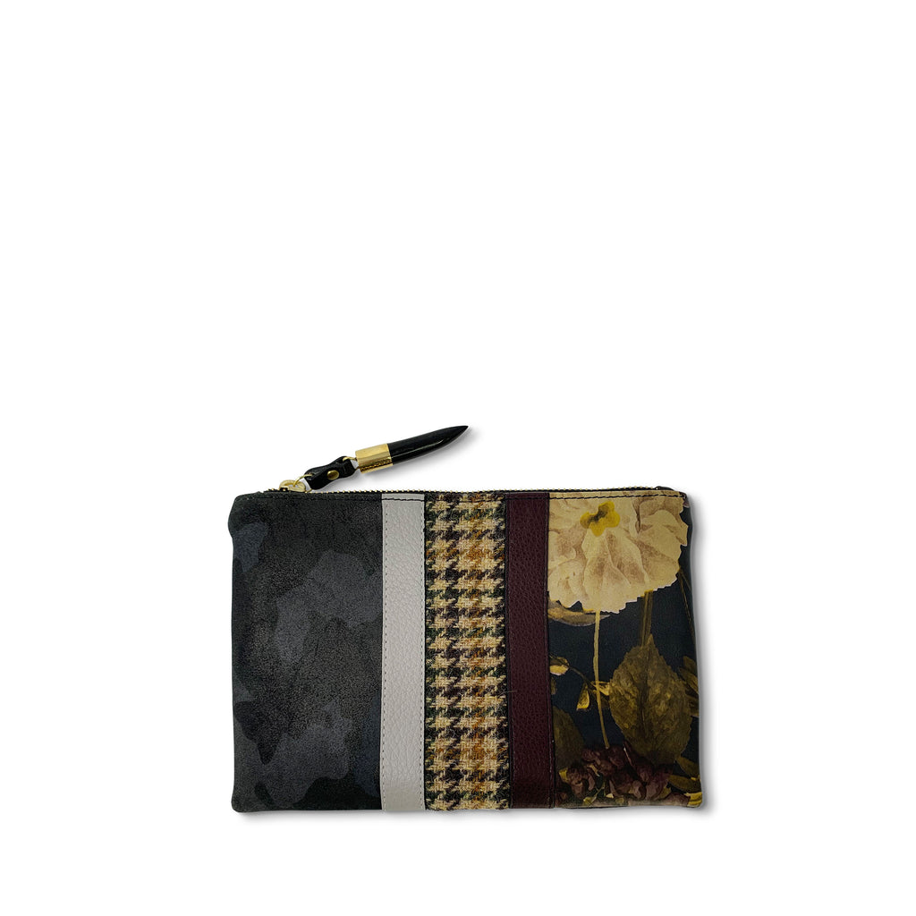 Black Peony, Camo & Harris Tweed - Small Pouch