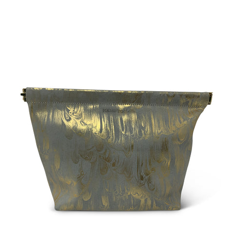Aqua & Gold Marbled Medium Pouch