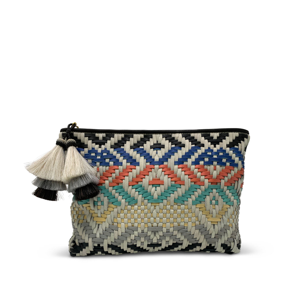 Multi Color Woven Medium Pouch
