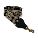 Black, Taupe and Cream Bag Strap
