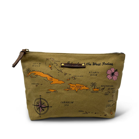 Vintage Map Print Canvas Crossbody