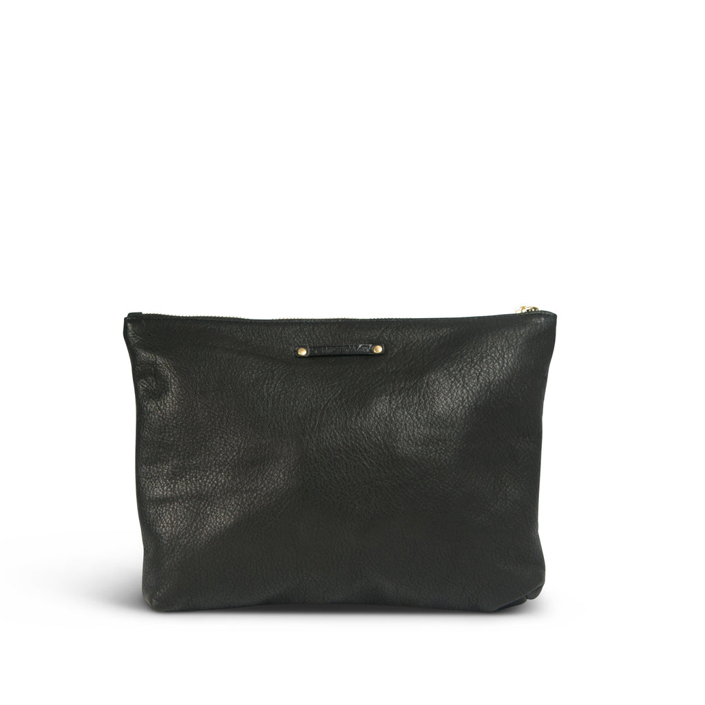 "The ""Pom Pom"" Medium Leather Clutch - Chalk with Black Poms"