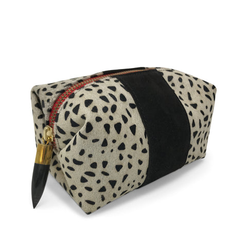 Marlborough Cosmetic Pouch - Black Shearling