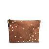 Cognac Suede Star Medium Pouch
