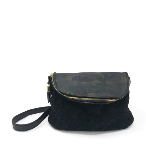 Shearling Devon Holdall - Grey Shearling and Camo Suede
