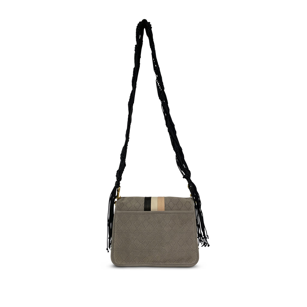 Suede Diamond Perforated Eva Shoulder Bag