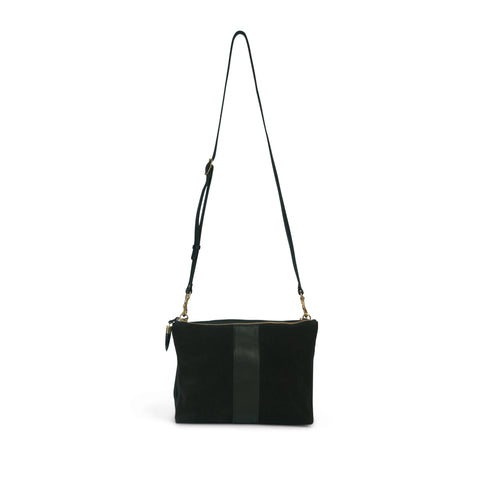 Nottingham Double Zip Crossbody - Black Suede