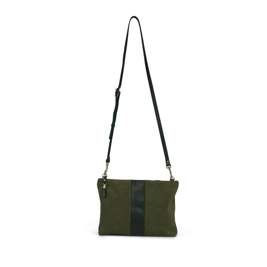 Harford Double Zip Crossbody - Olive Suede/Black Stripe
