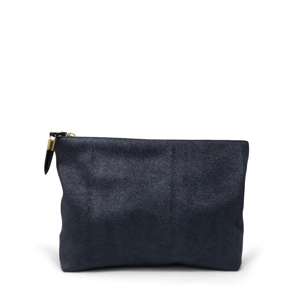 Metallic Grit Navy Medium Pouch