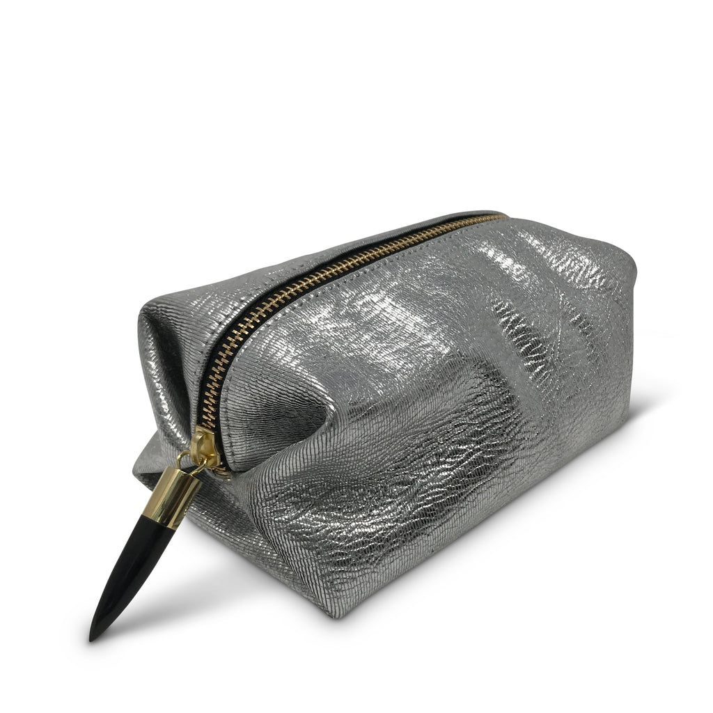 Metallic Rain Silver Cosmetic Case