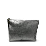 Metallic Rain Silver Medium Pouch